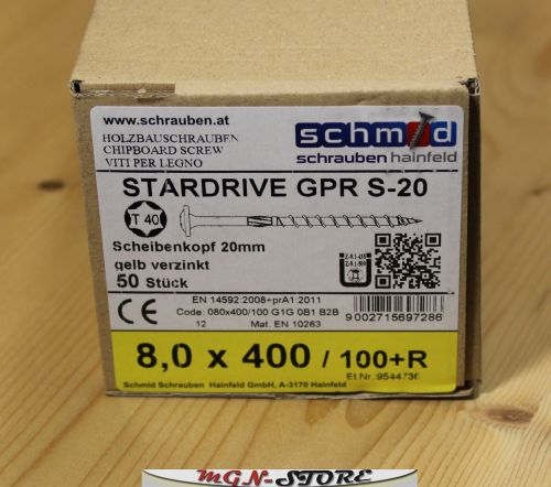 8 mm GPR® S-20 Tellerkopfschrauben EU-Zulassung Holzbauschrauben Tellerkopf TX40